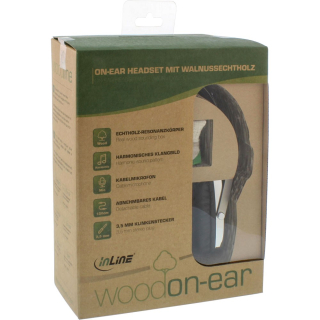 InLine woodon-ear, wooden On-Ear Headset mit Kabelmikrofon Funktionstaste
