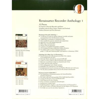 Bennets Renaissance Recorder Anthology 1 SBFL KLAV CD ED13591